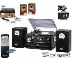 Jensen 3 Speed Stereo Turntable with AM FM Stereo Radio and