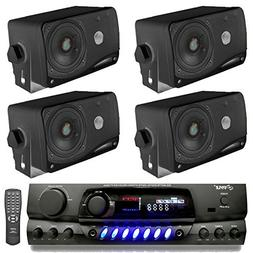 "4) Pyle PLMR24B 3.5"" 200W Box Speakers + PT260A Home Digital"