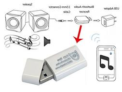 E2E White Bluetooth Audio Music Streaming Receiver Adapter w