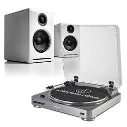 AudioTechnica ATLP60 SilverTurntable & Audioengine A2+ White