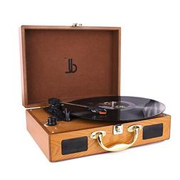 D&L Belt-Drive 3 Speed Turntable Portable Wooden Suitcase Re
