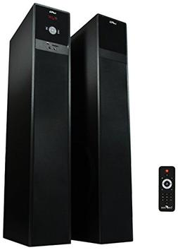 beFree Sound Bluetooth Powered Tower Speakers, Brushed
