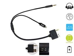 Car AUX Music Interface Cable, AUX Input Lighting Cord Suppo