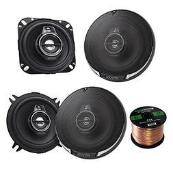 """2 Pair Car Speaker Package Of 2x Kenwood KFC-1095PS 4"""" 3-Way"""