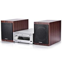 neon Hi-Fi Stereo Systems with Wooden Speakers, CD Stereo Pl