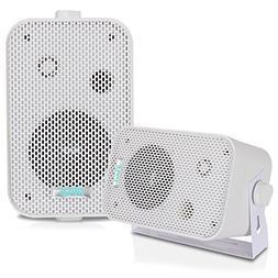 Dual Waterproof Outdoor Speaker System - 3.5 Inch Pair of We