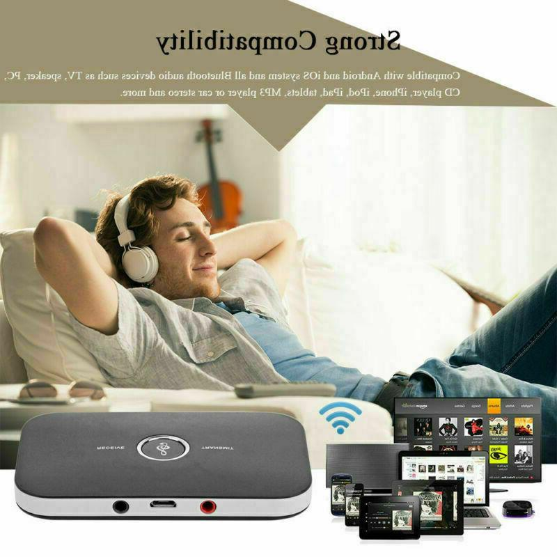 2in1 Bluetooth Audio Receiver Aux Adapter for Home Car Stereo