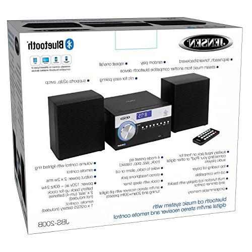 Jensen Modern Black Series JBS-200B Bluetooth Music System, Digital AM/FM Stereo Speakers, Aux-In, &