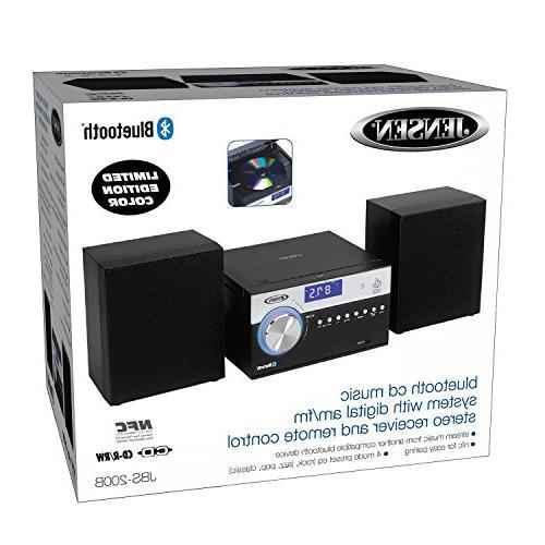 Jensen Modern Black JBS-200B Bluetooth System, NFC, Digital Stereo Aux-In, & Remote