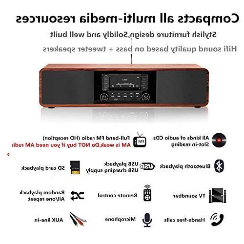 KEiiD Stereo Wooden Desktop Bluetooth Hi-Fi Speaker Home Audio Component Shelf with FM Radio Digital Control USB AUX,Soundbar