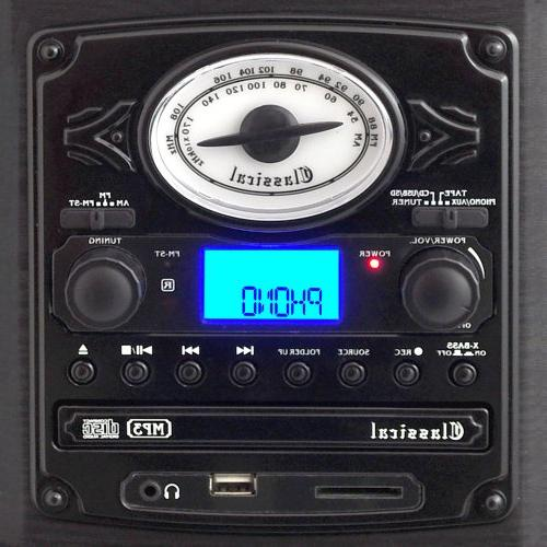 Pyle Vintage - With CD Player, SD Card Speakers - Audio Files MP3 with LCD