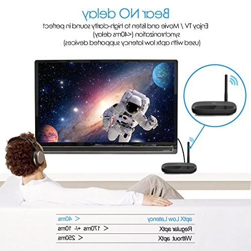 Bluetooth Transmitter Viflykoo Long 3 Adapter, Low Latency in Link, 2 in TX RX Mode, 3.5mm AUX RCA TOSLINK TV/Home System