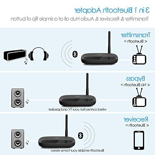 Bluetooth 4.2 Receiver, 3 in 1 Adapter, in Dual Link, Pair RX Mode, RCA TV/Home