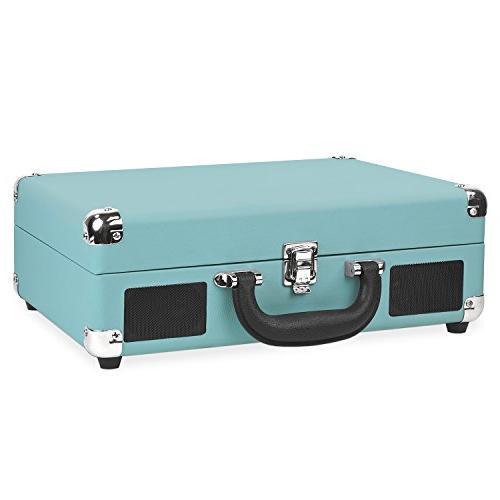 Victrola Vintage Suitcase Turntable Speakers, Aqua