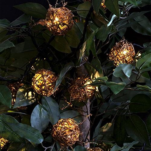 Innovative Technology Tunes with Bluetooth Decorative Rattan Globes LED Lights