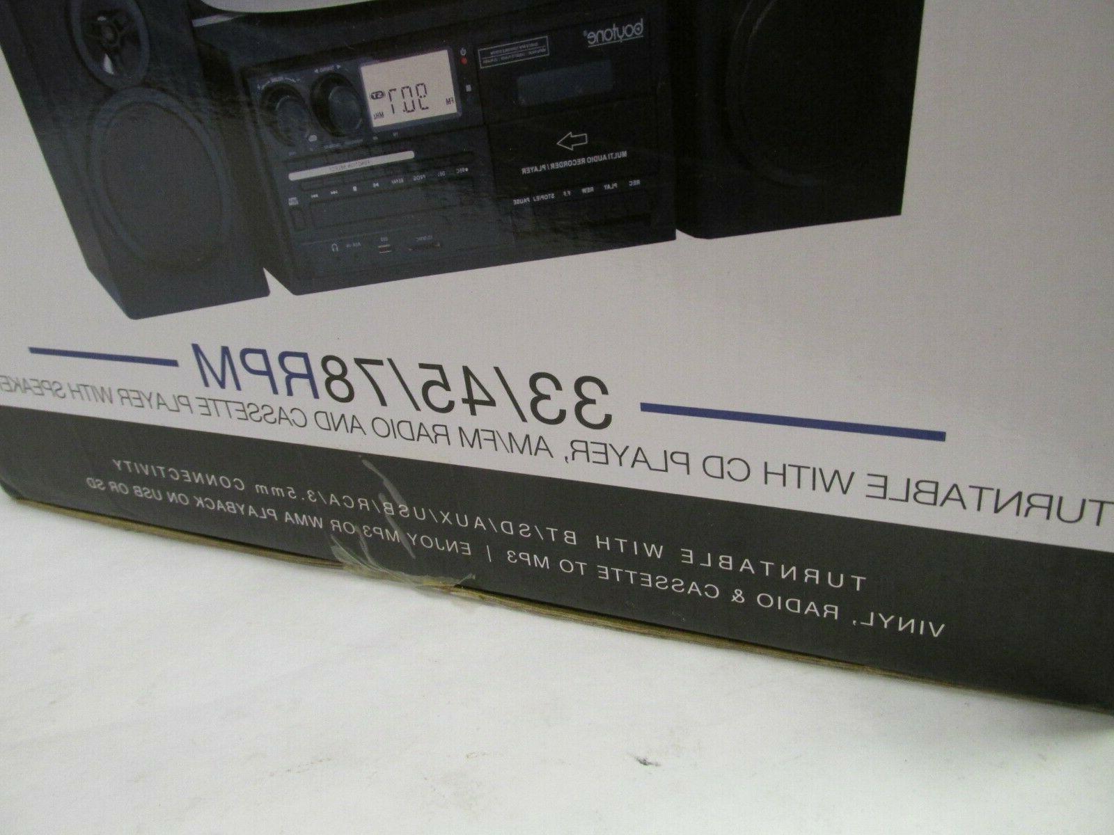 Boytone Turntable Stereo System CD Cassette Black NEW