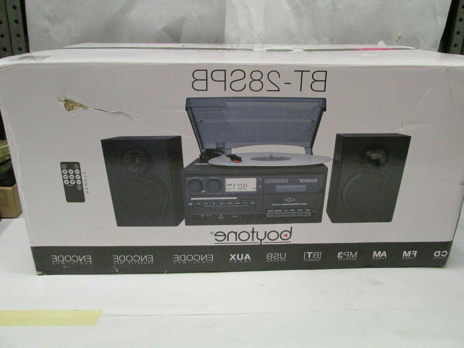 Boytone BT-28SPB Bluetooth Classic Turntable System Cassette NEW