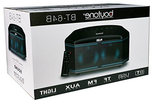 "Boytone Wireless Premium HiFi Home Theater Speaker Powerful Super Clear 6.5"" Subwoofer, Midrange/Tweeter, Light, USB/SD/MP3"