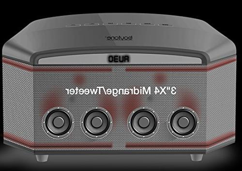"Theater Super Bass, Clear 6.5"" Subwoofer, X4 Midrange/Tweeter, Radio, Disco Light, USB/SD/MP3"