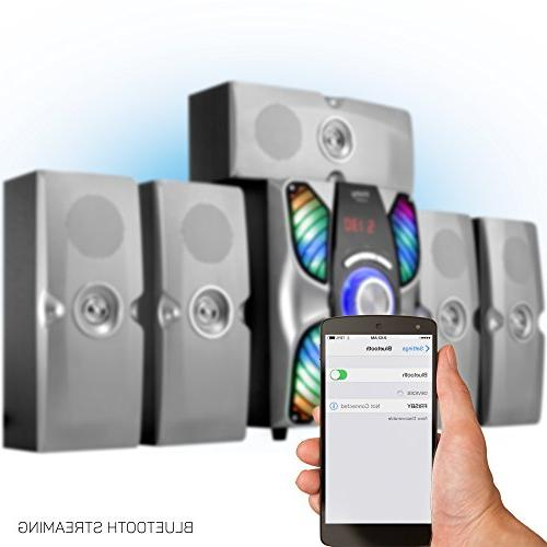 Frisby 5.1 Surround Sound System Bluetooth Stereo Subwoofer with USB/SD for TV/Smartphones/Tablets/Laptops/Desktops, Silver