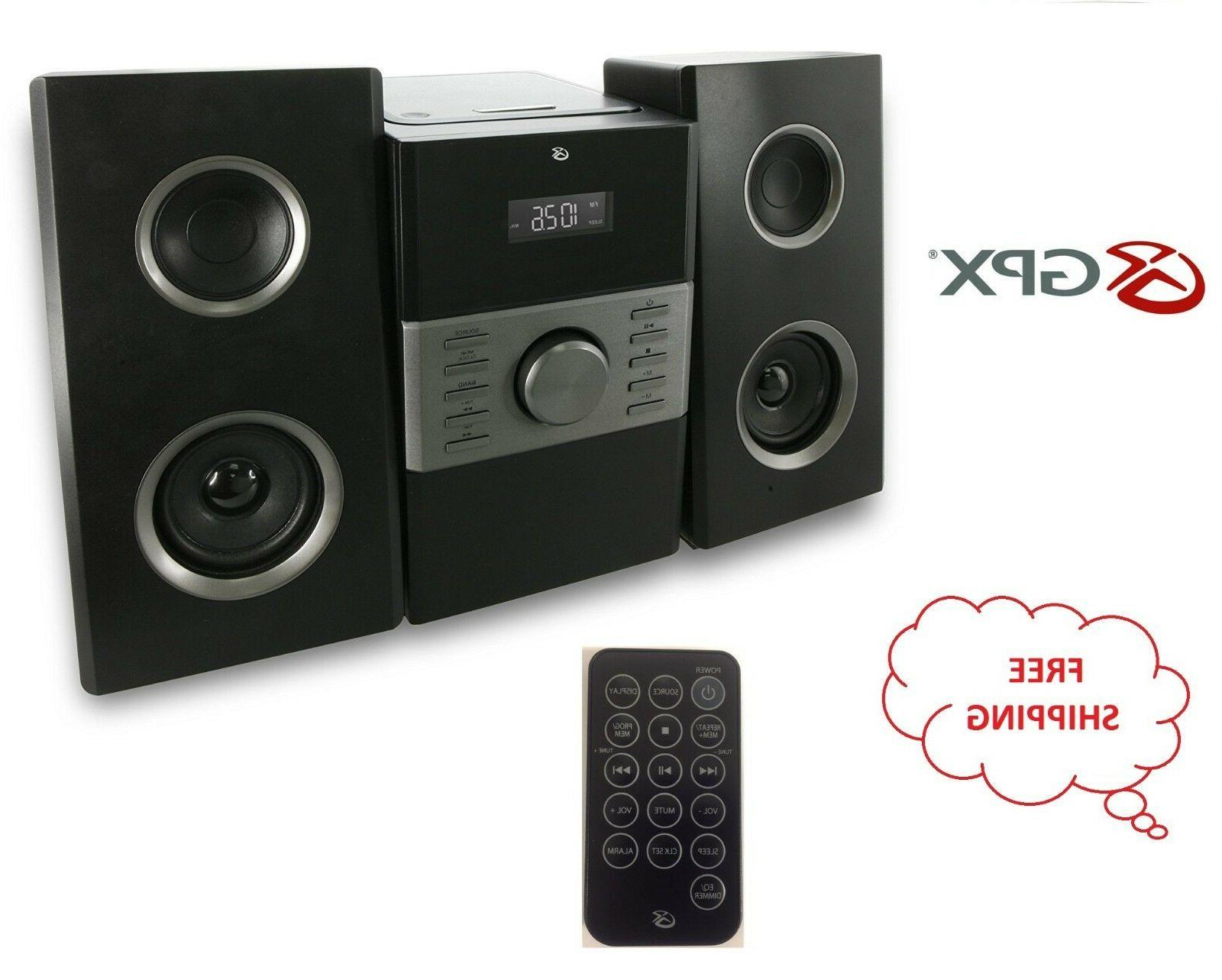 GPX Home Music System Remote CD AM FM Stereo Aux In 3.5mm Bl