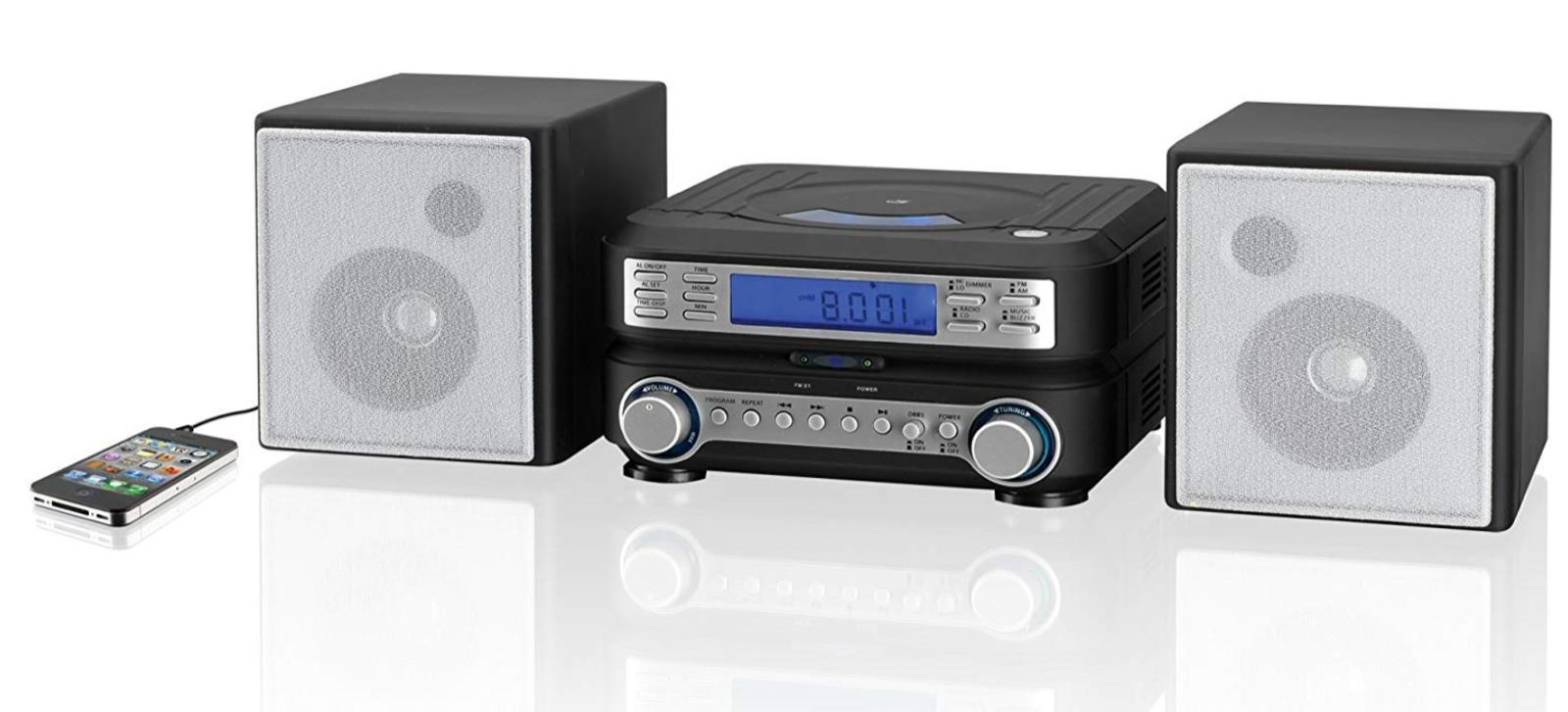 Home Stereo System Player Clock AM/FM LCD Display