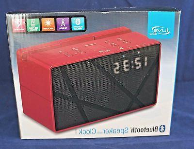 icb284r bluetooth fm clock radio red new