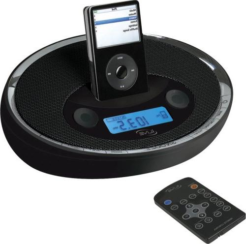 iLive ICR6307DTBLK iPod System Digital AM/FM Stereo Dual Alarm Clock with Control in Black