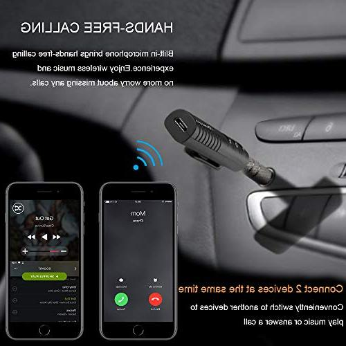 Mini Bluetooth 4.1 Adapter Receiver&Hands-Free Car Wireless Audio Adapter for Car/Home Stereo Music Streaming Sound System