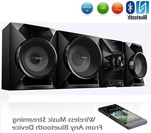 Sony Bluetooth Sound MP3 CD FM Radio, Sleep Timer, Bass Boost, 2-Way Reflex AUX USB Input, + Accessories