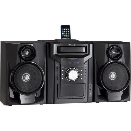 Sharp Audio Stereo System With 5-Disc Multi-Play CD Changer, Dock, Radio Tuner, Remote Control