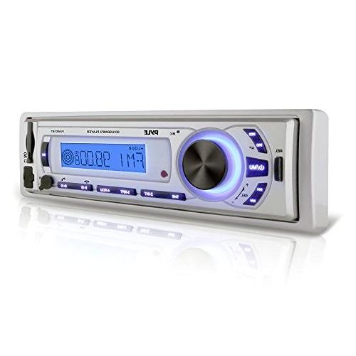 Pyle PLMR21BT Marine Audio Player - W - LCD Display MP3, FM 30 x AM/FM Preset SD - Bluetooth - - Auxiliary Input - Detachable Panel