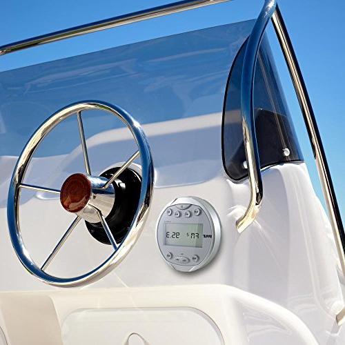 Pyle Round Waterproof Stereo 4x28 W Aquatic In Gauge Receiver with Bluetooth, Digital USB, RCA Harness, Bracket