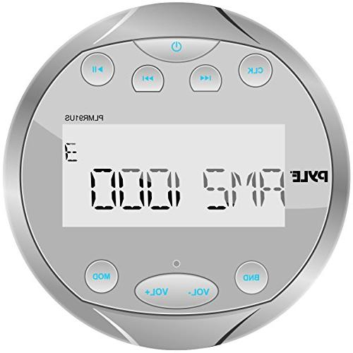 Pyle Round Stereo - 4x28 Aquatic Gauge Radio Receiver System with Digital USB, RCA Includes