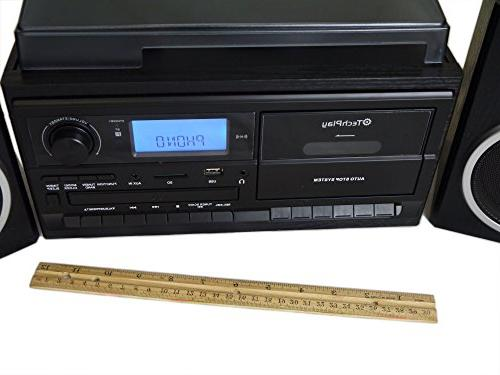 TechPlay 3-Speed with SD / USB Player, FM AUX in, Line Out Clock , Speakers