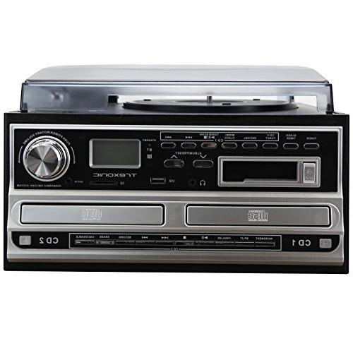 Trexonic 3-Speed CD and CD Recorder, Wired Shelf Speakers, FM & CD/USB/SD