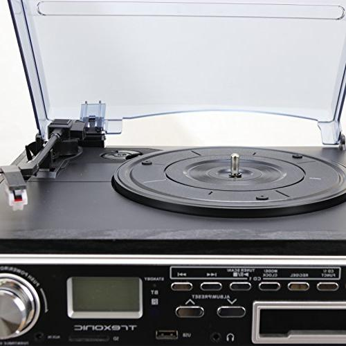 Trexonic Turntable CD Player, Cassette and Shelf Speakers, FM &