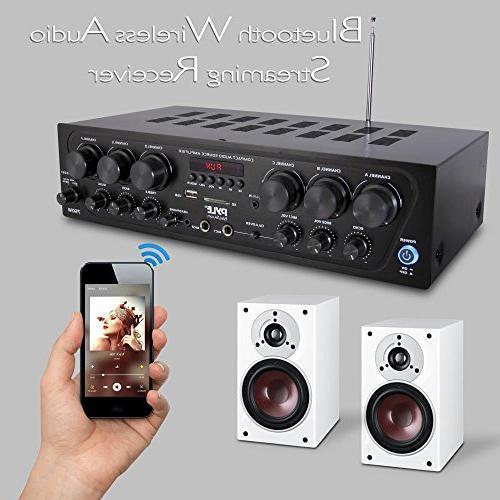 Upgraded 2018 Wireless Bluetooth Karaoke - 750 Sound Amplifier w/ USB, 2 Microphone Input Echo, - Pyle
