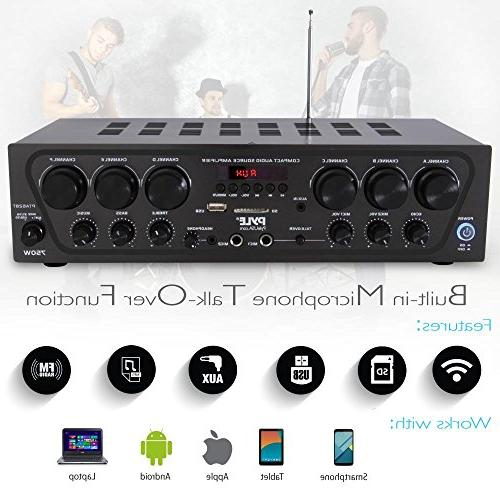 Upgraded 2018 Karaoke 750 Audio Sound Power Amplifier w/ 2 Echo, -