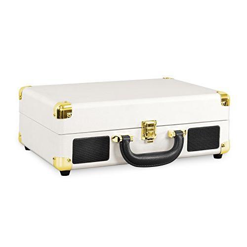Victrola Vintage 3-Speed Suitcase Speakers, White