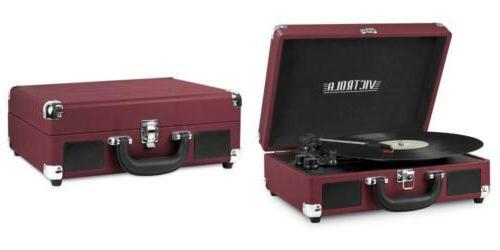 vintage 3 speed bluetooth suitcase turntable
