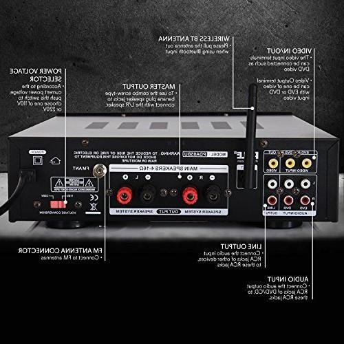 Wireless System - 200W Receiver USB, MIC Radio Home Theater Studio PDA65BU