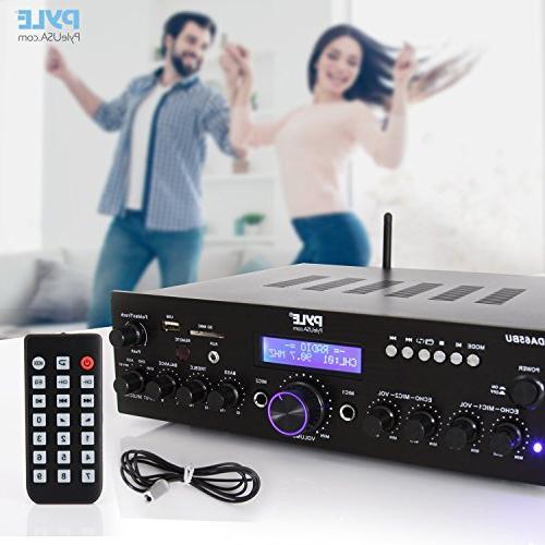 Wireless System 200W Channel Sound Receiver w/ MIC w/ Echo, Radio - Theater Entertainment via Studio - Pyle PDA65BU