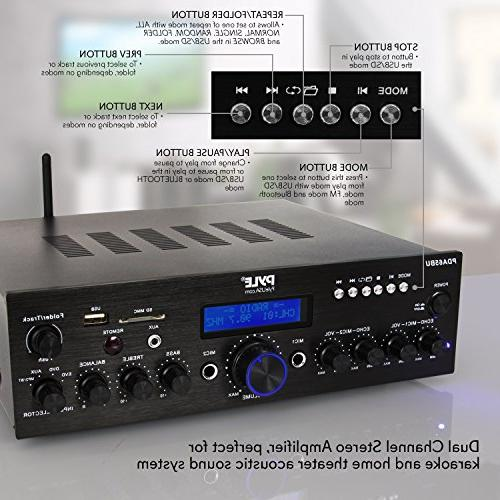Wireless Amplifier System - Channel Sound Audio Receiver w/ Radio for Home Theater Entertainment RCA, Studio - Pyle PDA65BU