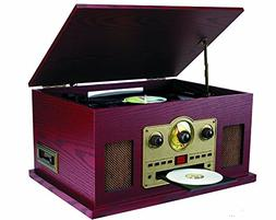 Sylvania SRCD838 5-In-1 Nostalgic Turntable with CD/Casette/