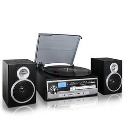 Trexonic 3-Speed Turntable with CD Player, FM Radio, Bluetoo