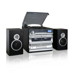 Trexonic 3-Speed Turntable With CD Player, Double Cassette P